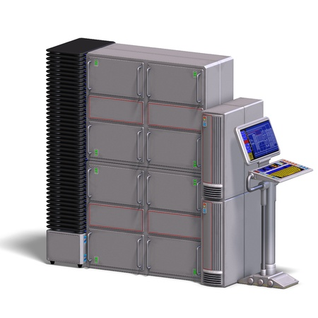 automat: a historic science fiction computer or mainframe. 3D rendering with  shadow over white