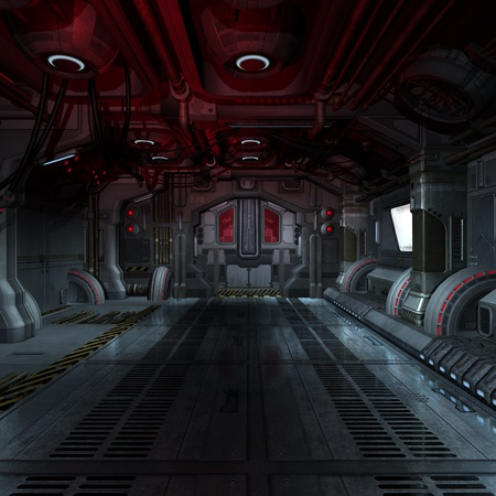 spacecraft: inside a futuristic scifi spaceship 3D rendering for background or composing image