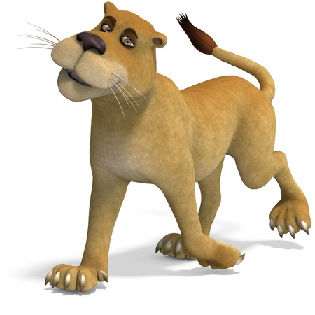 aplomb: very cute and funny female cartoon lion. 3D rendering with shadow over white