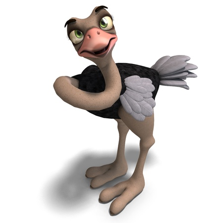cute toon ostrich gives so much fun. 3D rendering with  shadow over white photo