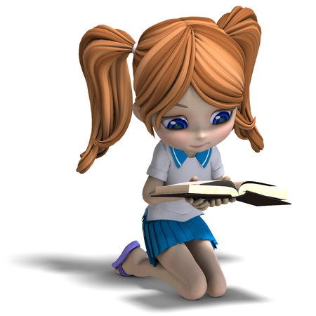 student book: cute little cartoon school girl reads a book. 3D rendering with  shadow over white