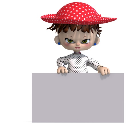 gal: cute and funny cartoon doll with hat. 3D rendering with   shadow over white