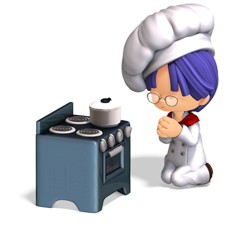 adoring: cute and funny cartoon cook. 3D rendering with shadow over white