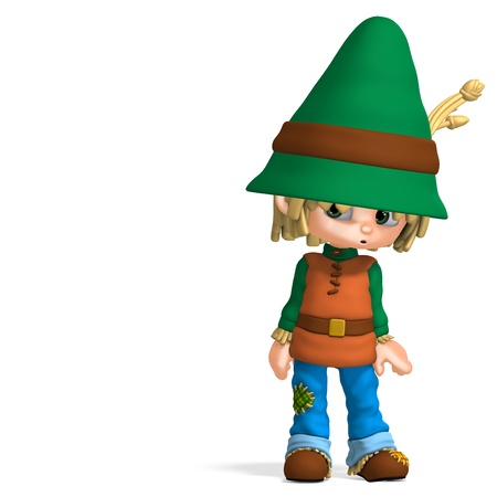 granger: cute and funny cartoon farmer boy. 3D rendering with  shadow over white