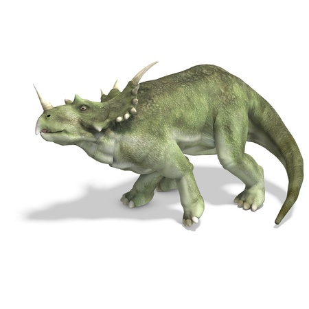 reptilia: Dinosaur Styracosaurus. 3D rendering with   shadow over white Stock Photo
