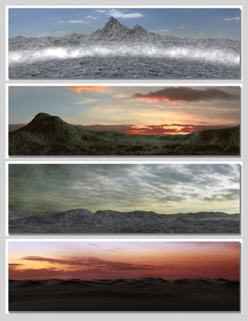 four different fantasy landscapes for banner, background or illustration. with clouds, mountains and sunset Stock Illustration - 8794651