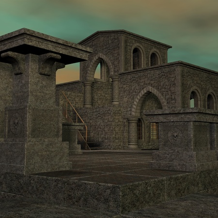 sunup: fantasy temple at dawn. 3D rendering of a fantasy theme for background usage. Stock Photo