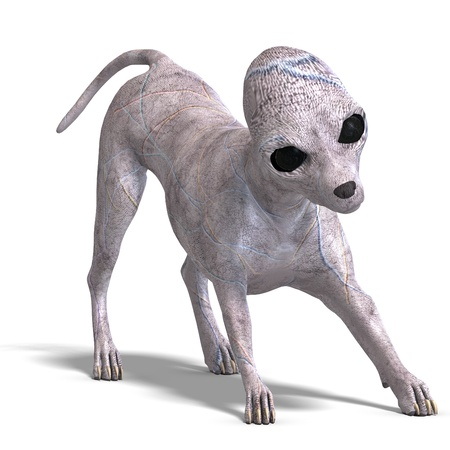 area 51: strange alien dog from area 51. 3D rendering with   shadow over white