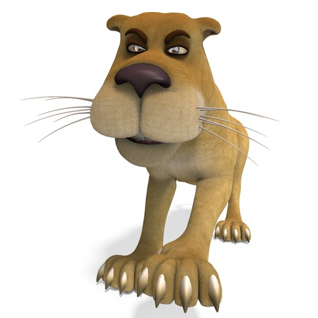 very cute and funny female cartoon lion. 3D rendering with   shadow over white photo