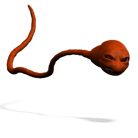 funny cartoon rendering of sperm. 3D rendering with  shadow over white photo