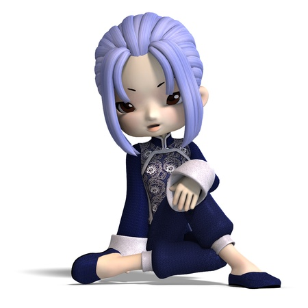 charming china cartoon figure in dark blue clothes. 3D rendering with  shadow over white photo