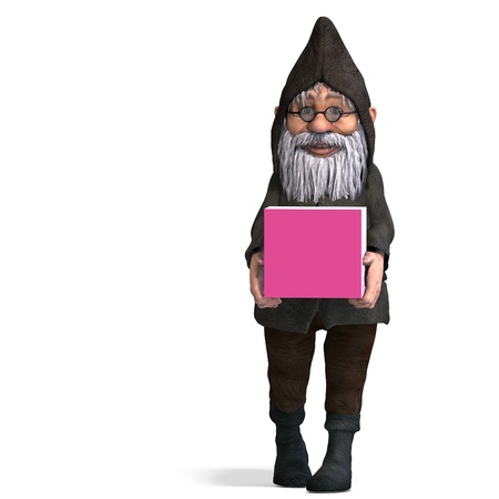 keep up: cute and funny cartoon garden gnome.3D rendering with  shadow over white