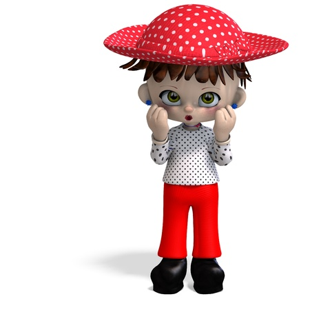 cute and funny cartoon doll with hat. 3D rendering with   shadow over white