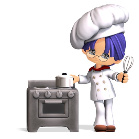 baking oven: cute and funny cartoon cook. 3D rendering with  shadow over white Stock Photo