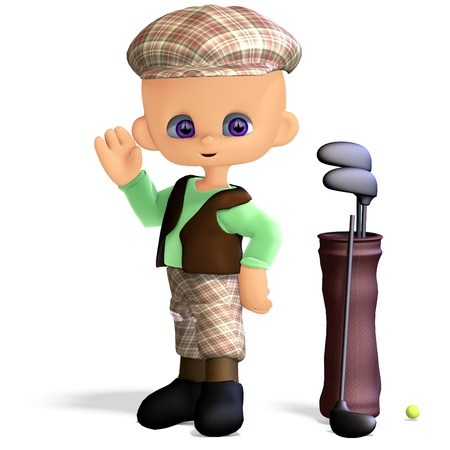 cute and funny cartoon golf player. 3D rendering with   shadow over white