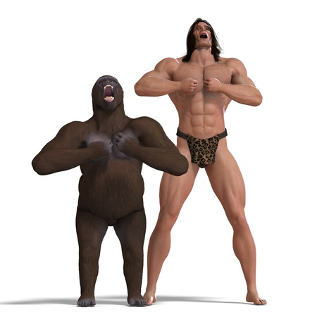 amity: the apeman and the gorilla are ground friends. 3D rendering   Stock Photo