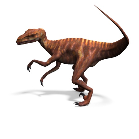 Dinosaur Deinonychus. 3D rendering  photo