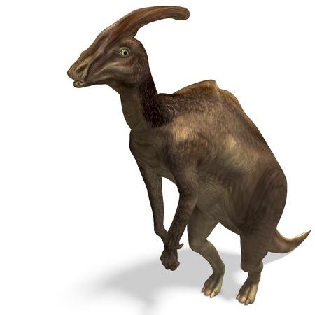 carefulness: Dinosaur Parasaurolophus. 3D rendering
