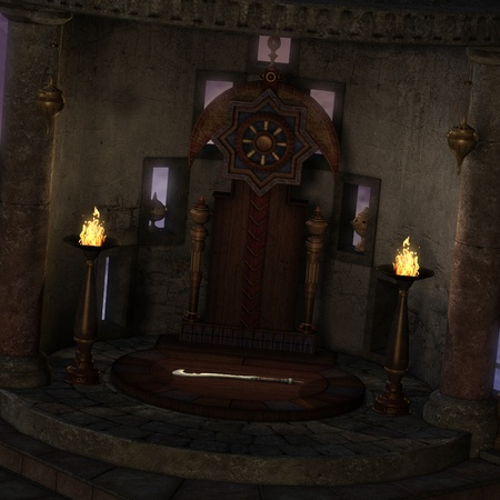 archaic altar or sanctum in a fantasy setting. 3D rendering of a fantasy theme. ideal for background usage. photo