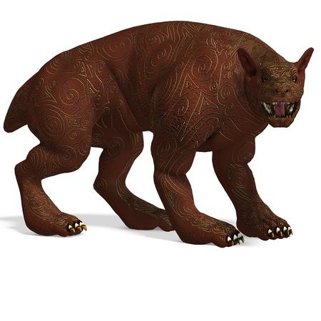 frightened dog: criatura con perro con piel dorada. Representaci�n 3D