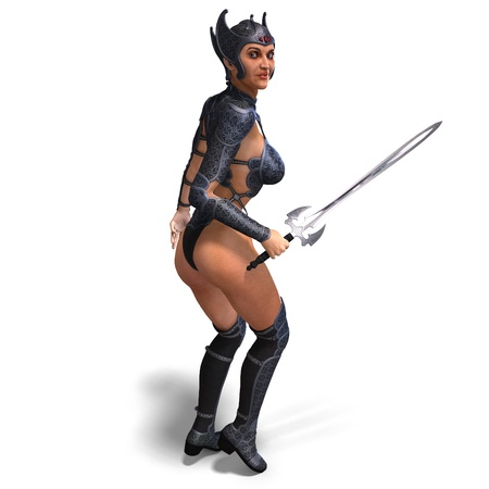 female amazon warrior with sword and armor. 3D rendering
