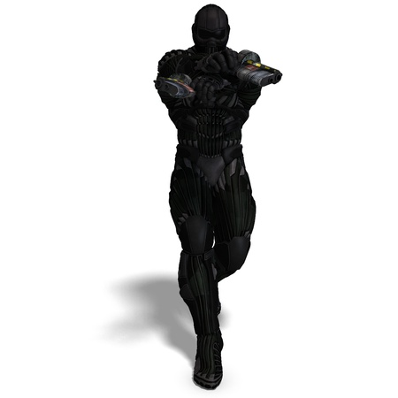 over lab: science fiction male character in futuristic suit. 3D rendering