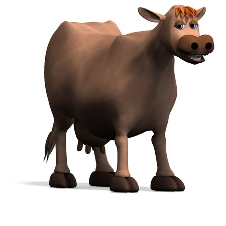 cute and funny cartoon cow. 3D rendering   photo