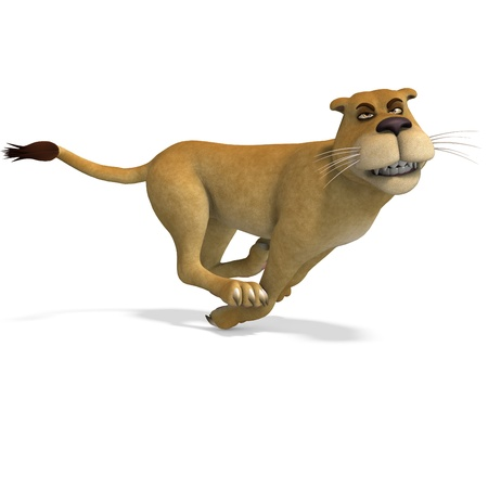 very cute and funny female cartoon lion. 3D rendering  Stock Photo - 8889491