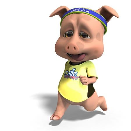 cute toon pig takes a jogging run. 3D rendering   photo