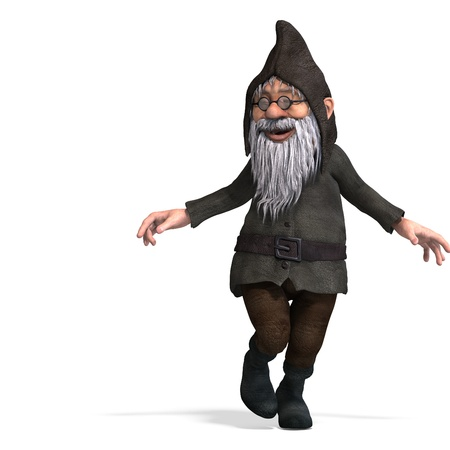 dwarfs: cute and funny cartoon garden gnome.3D rendering  Stock Photo