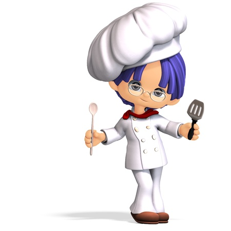 spatula: cute and funny cartoon cook. 3D rendering