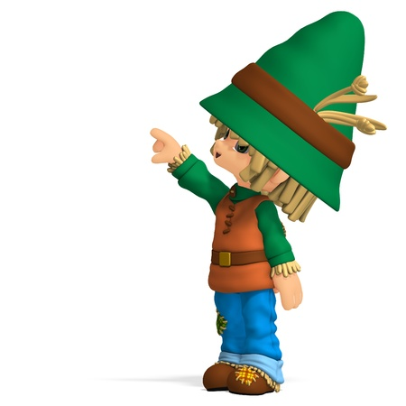granger: cute and funny cartoon farmer boy. 3D rendering