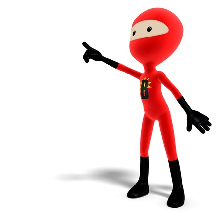 funny and cute cartoon hero with mask. 3D rendering   Stock Photo - 8889387