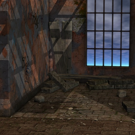 backcloth: magic window in a fantasy setting. 3D rendering of a fantasy theme for background usage.