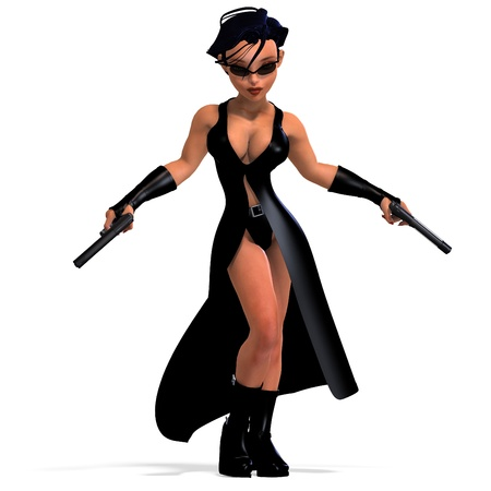 cute and funny female comic spy girl. 3D rendering  photo