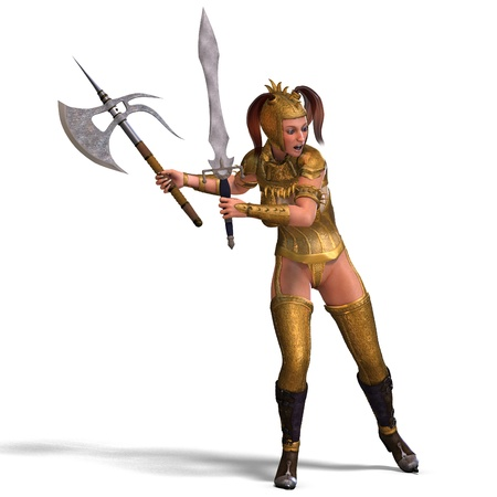 joust: attractive female knight act as a guard. 3D rendering  Stock Photo