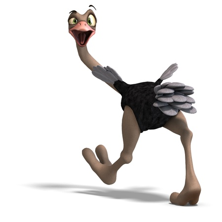 droll: cute toon ostrich gives so much fun. 3D rendering