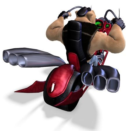 plushy: toon animal big pig as a biker. 3D rendering