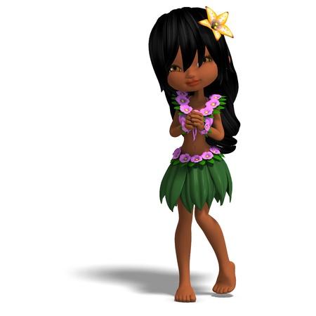 applause: very cute hawaiin cartoon girl is dancing for you. 3D rendering