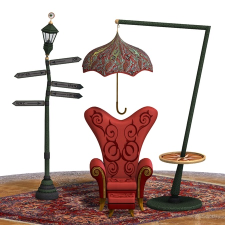 ridiculous: very surreal rendering of a chair with funny elements. 3D rendering of a fantasy theme for background usage.
