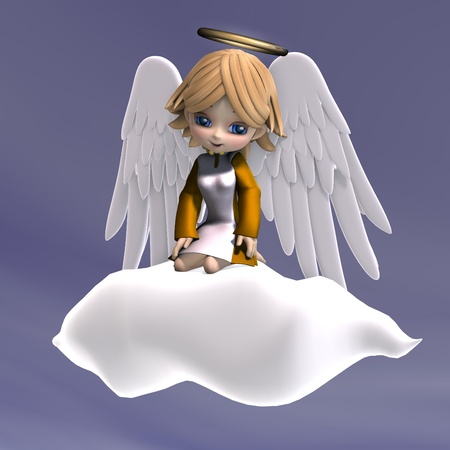 angel 3d: cute cartoon angel with wings and halo. 3D rendering