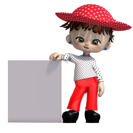cute and funny cartoon doll with hat. 3D rendering  Stock Photo