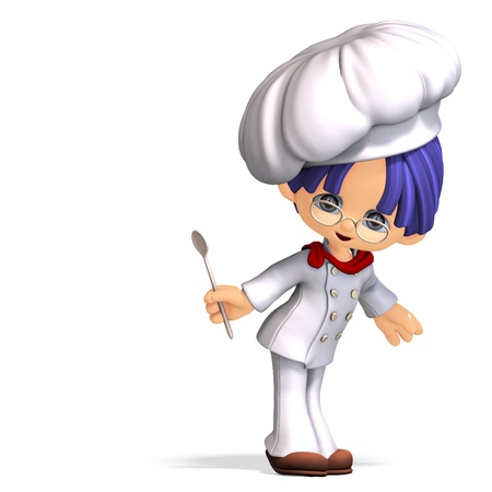 cute and funny cartoon cook. 3D rendering Stock Photo - 8906949