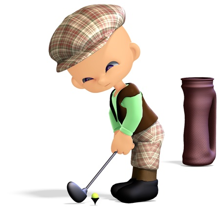 concentrating: cute and funny cartoon golf player. 3D rendering Stock Photo