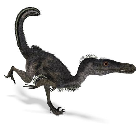 carefulness: Dinosaur Velociraptor. 3D rendering