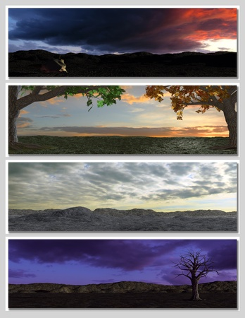 four different fantasy landscapes for banner, background or illustration. 3D rendering with clouds, mountains and sunset Stock Illustration - 9068982