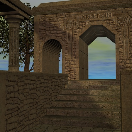 gloaming: fantasy temple at dawn. 3D rendering of a fantasy theme for background usage. Stock Photo