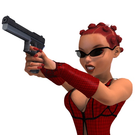 sexual activity: cute and funny female comic spy girl. 3D rendering