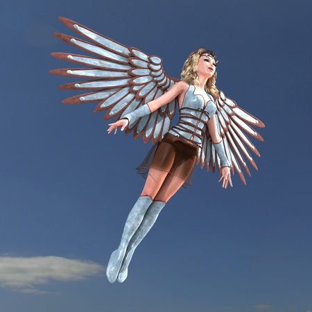 patronize: Female Fantasy Angel with huge wings. 3D rendering