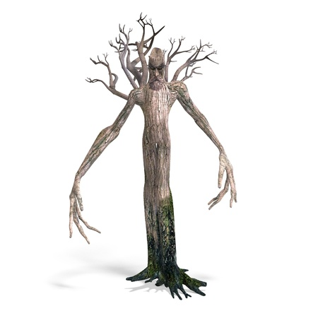 legend: The Ent - Keeper of the forest. 3D rendering Stock Photo